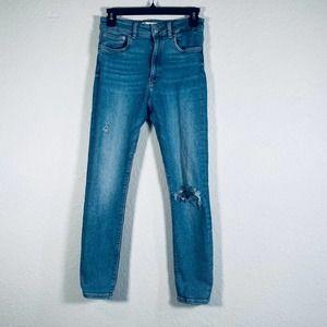 Zara Denim High Rise Distressed Skinny Jeans Sz 6